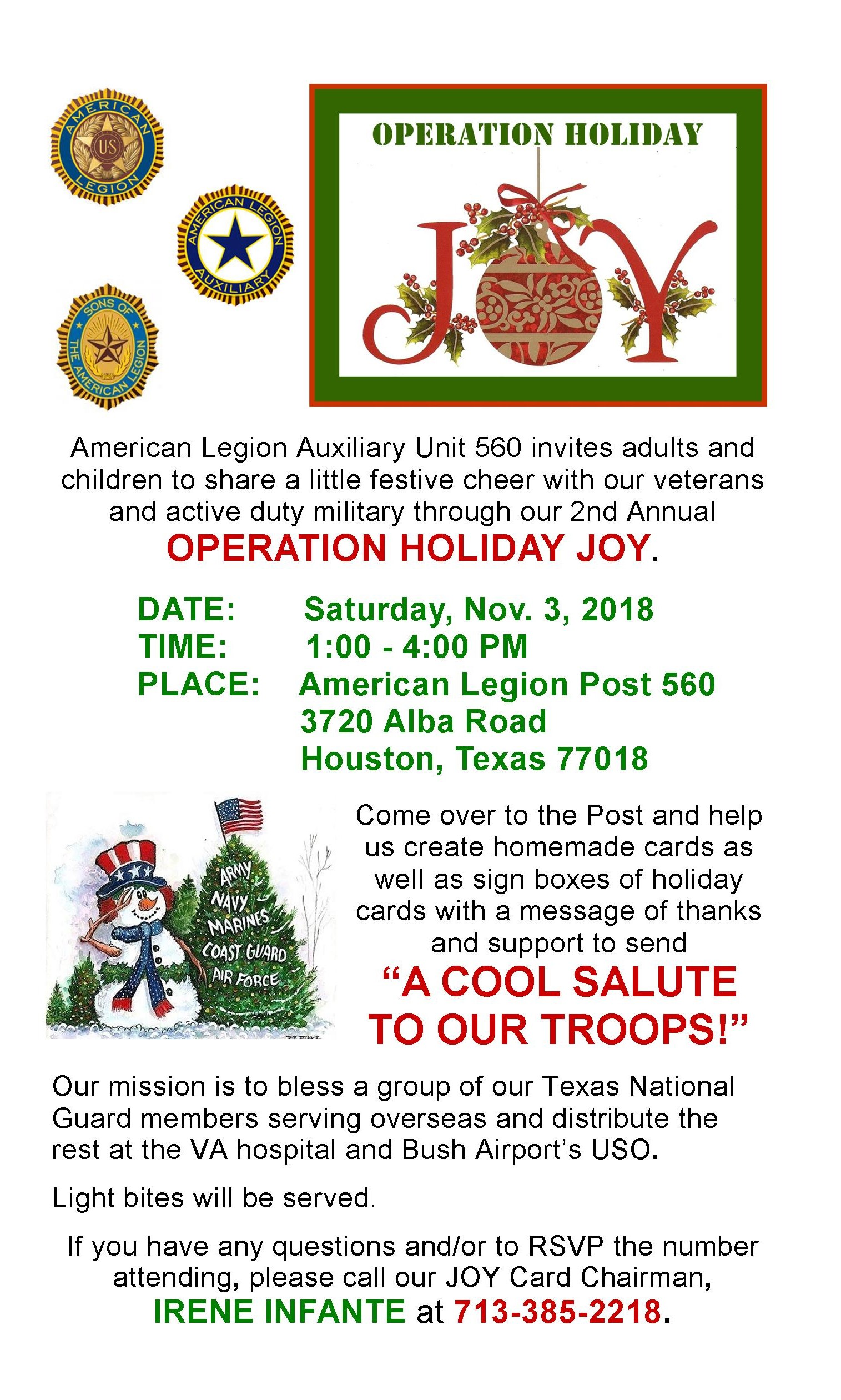 Operation Holiday Joy @ Garden Oaks American Legion Post 560