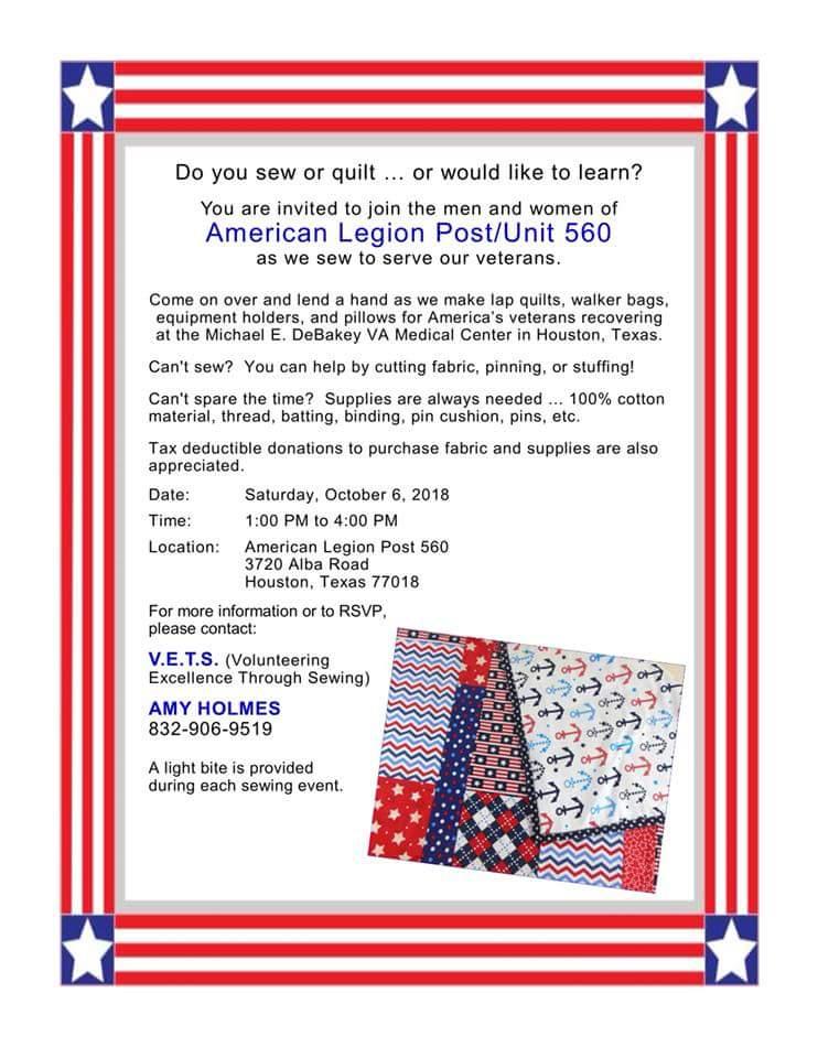 VETS (Volunteering Excellence Through Sewing) @ Garden Oaks American Legion Post 560