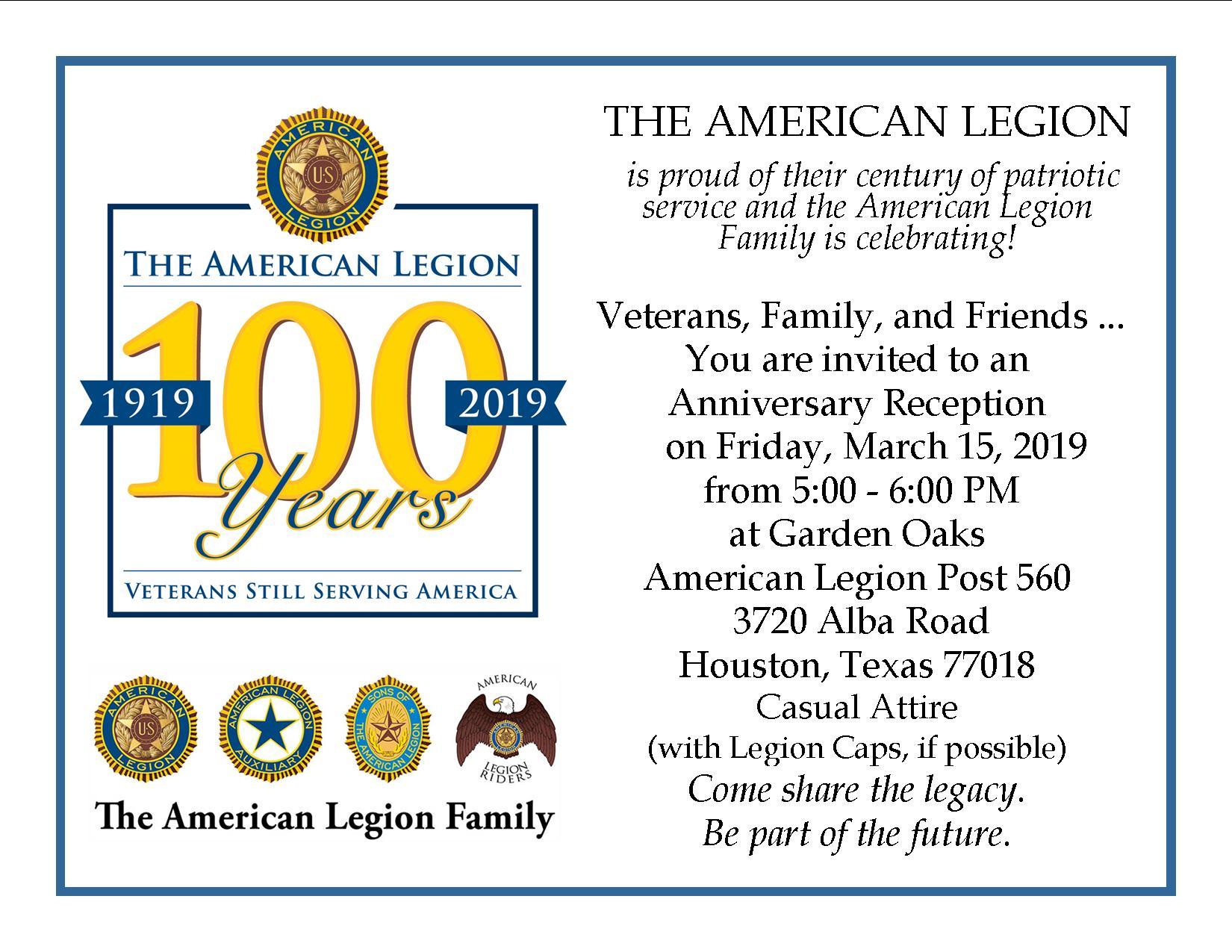 100 Years @ Garden Oaks American Legion Post 560